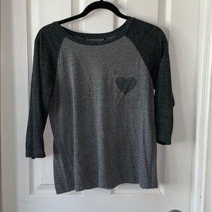 Tops - 3/4 sleeve baseball tee grey size M